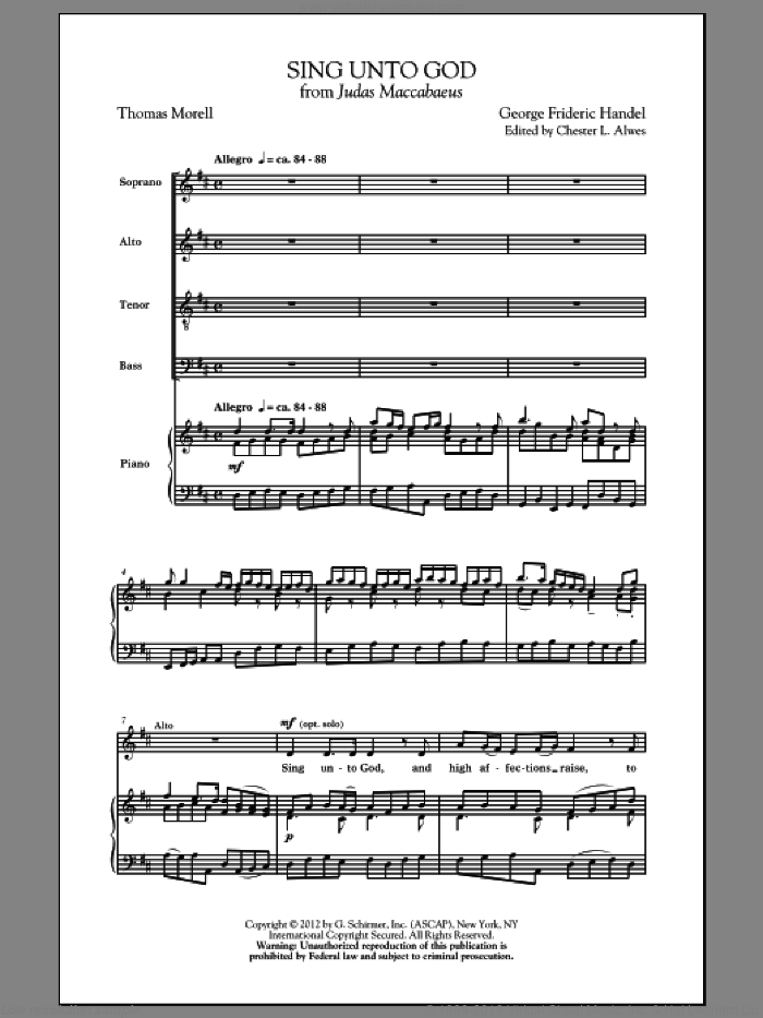 Sing Unto God sheet music for choir (SATB: soprano, alto, tenor, bass) by George Frideric Handel and Chester Alwes, classical score, intermediate skill level
