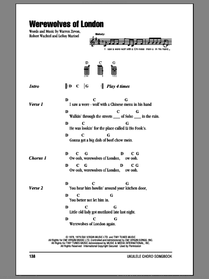 Werewolves Of London sheet music for ukulele (chords) by Warren Zevon, LeRoy Marinel and Robert Wachtel, intermediate. Score Image Preview.