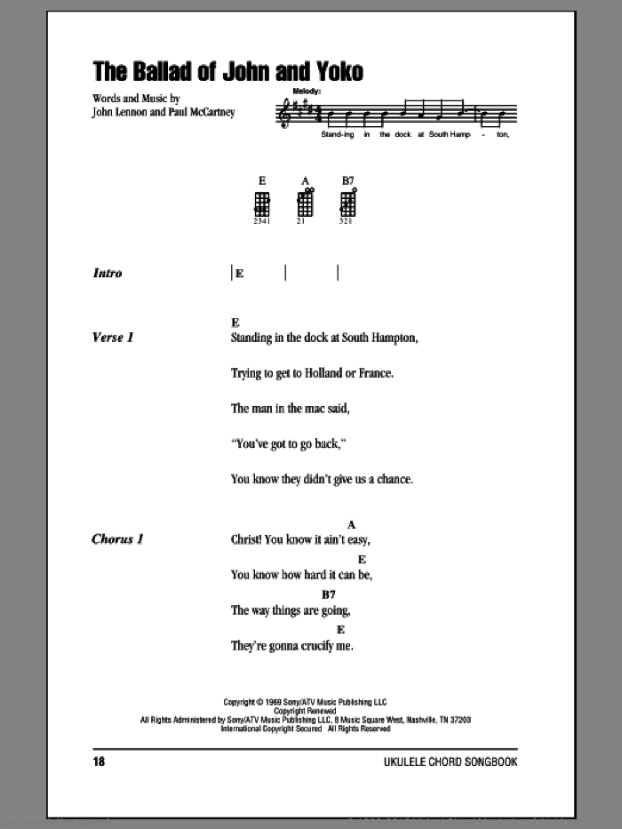 The Ballad Of John And Yoko sheet music for ukulele (chords) by Paul McCartney, The Beatles and John Lennon. Score Image Preview.