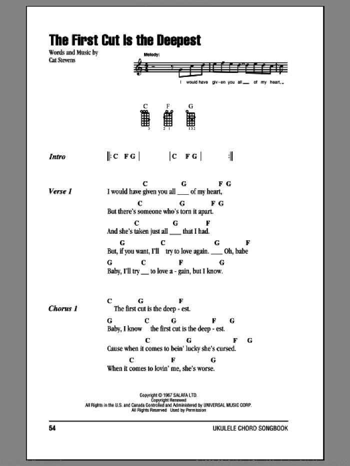 The First Cut Is The Deepest sheet music for ukulele (chords) by Sheryl Crow and Cat Stevens, intermediate. Score Image Preview.