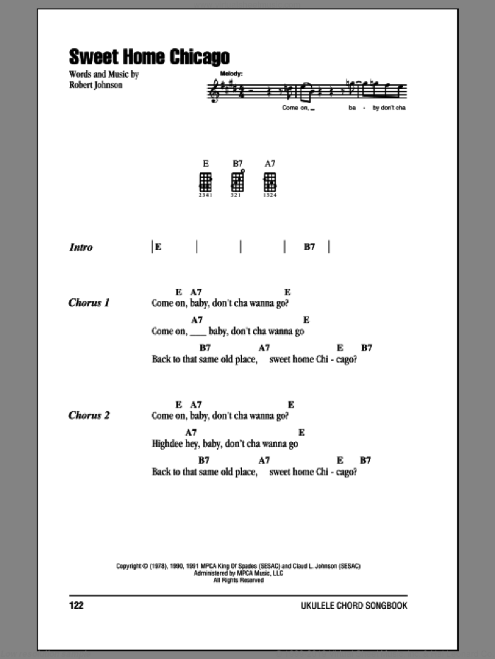 Sweet Home Chicago sheet music for ukulele (chords) by Robert Johnson, intermediate ukulele (chords). Score Image Preview.