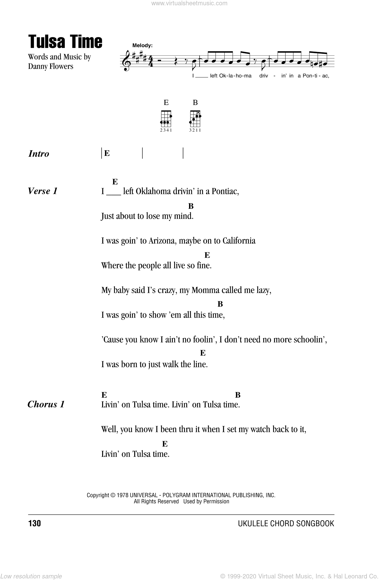 Tulsa Time sheet music for ukulele (chords) by Eric Clapton and Danny Flowers, intermediate skill level