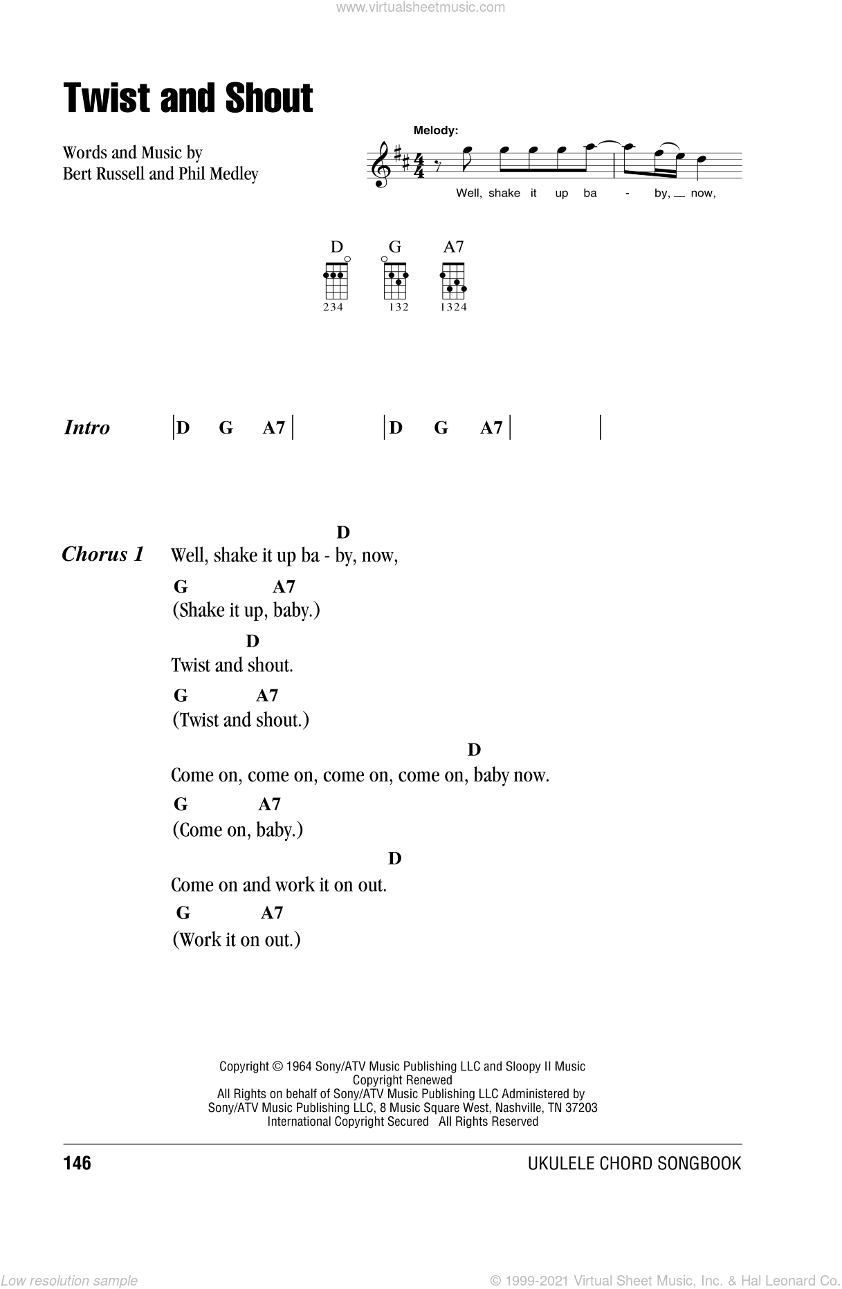 Twist And Shout sheet music for ukulele (chords) by The Beatles, Bert Russell and Phil Medley, intermediate skill level