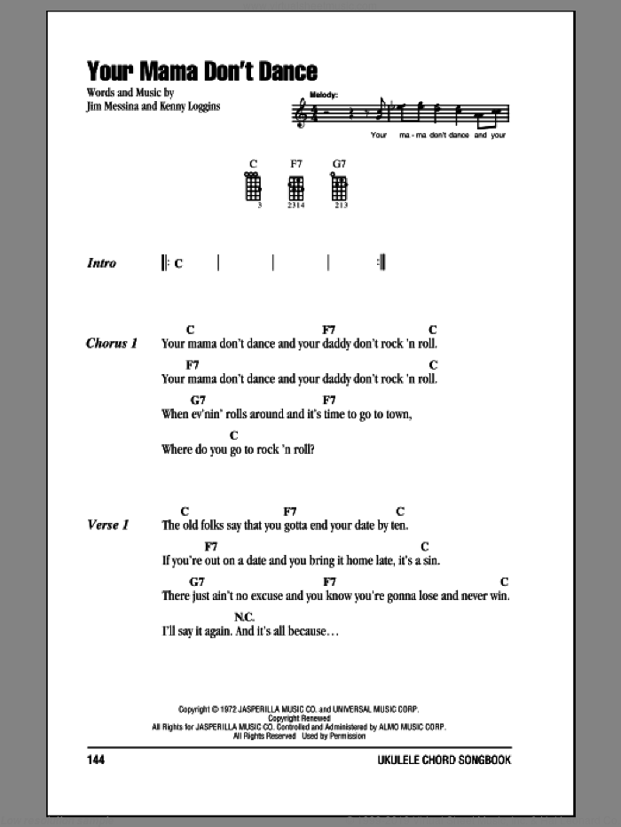 Your Mama Don't Dance sheet music for ukulele (chords) by Kenny Loggins