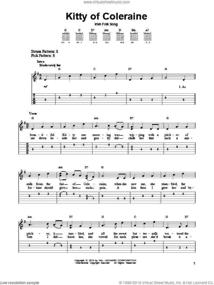 Kitty Of Coleraine sheet music for guitar solo (easy tablature). Score Image Preview.
