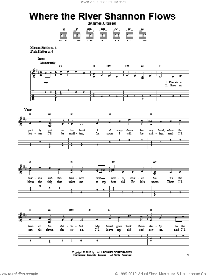 Where The River Shannon Flows sheet music for guitar solo (easy tablature) by James J. Russell. Score Image Preview.