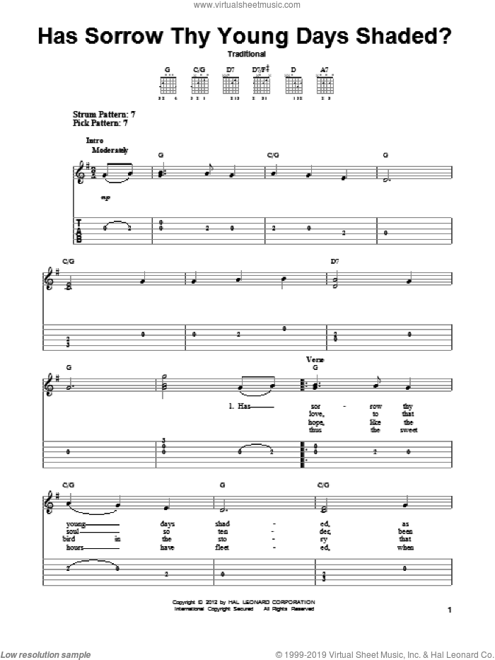 Has Sorrow Thy Young Days Shaded? sheet music for guitar solo (easy tablature). Score Image Preview.