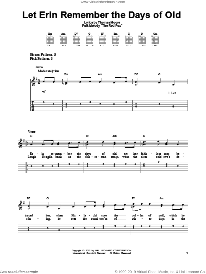 Let Erin Remember The Days Of Old sheet music for guitar solo (easy tablature) by Thomas Moore, easy guitar (easy tablature)