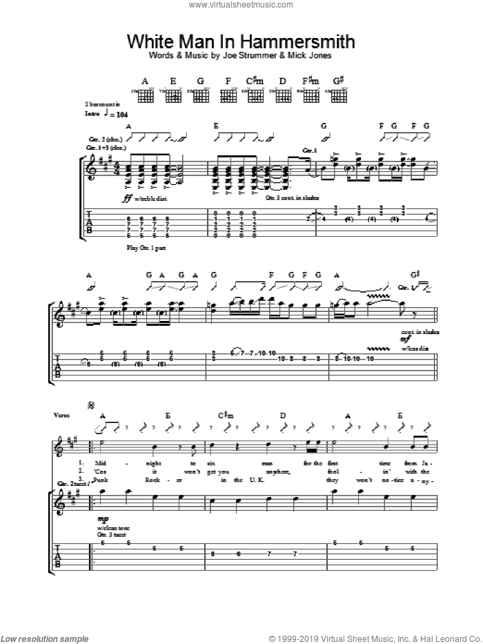 White Man In Hammersmith Palais sheet music for guitar (tablature) by The Clash and Mick Jones. Score Image Preview.