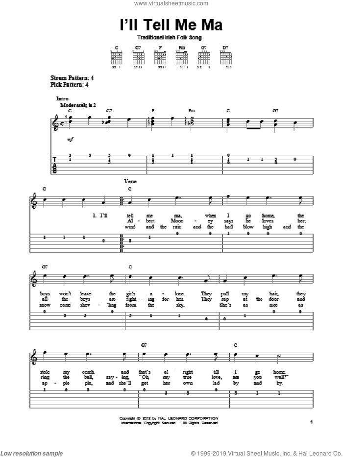 I'll Tell Me Ma sheet music for guitar solo (easy tablature). Score Image Preview.