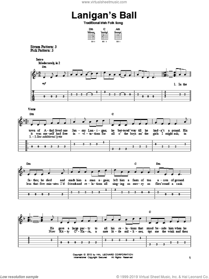 Lanigan's Ball sheet music for guitar solo (easy tablature). Score Image Preview.