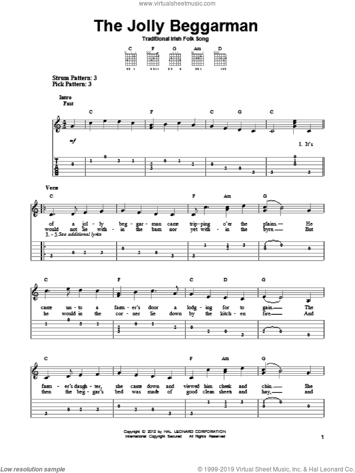 The Jolly Beggarman sheet music for guitar solo (easy tablature). Score Image Preview.