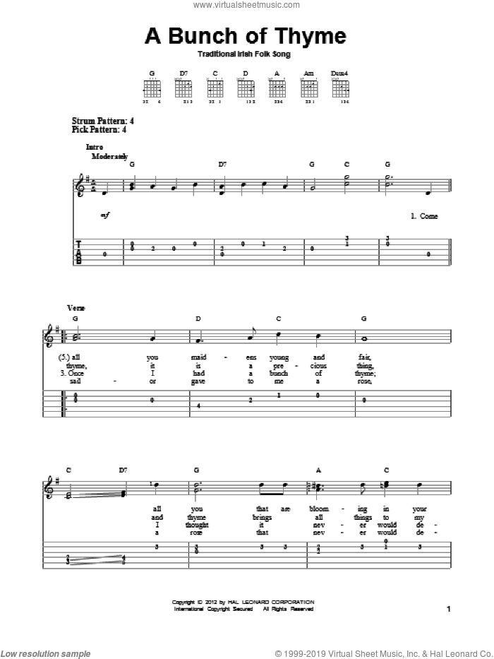A Bunch Of Thyme sheet music for guitar solo (easy tablature) by Traditional Irish Folksong. Score Image Preview.