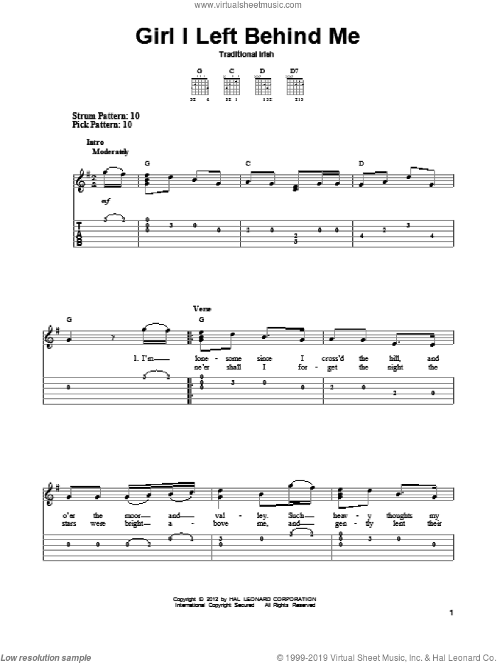 Girl I Left Behind Me sheet music for guitar solo (easy tablature) by Traditional Irish, easy guitar (easy tablature)
