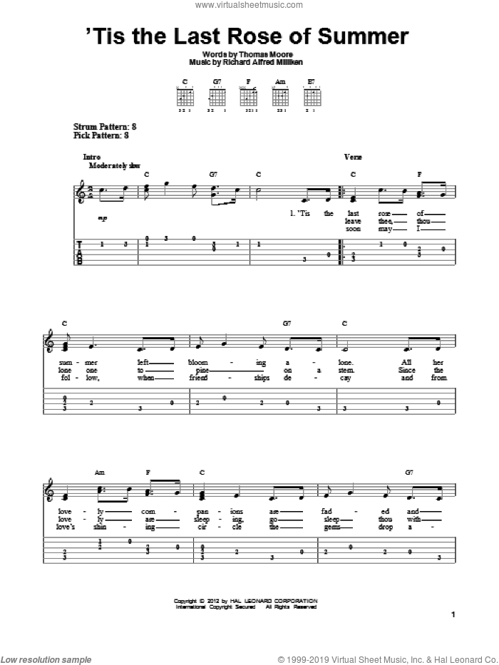 'Tis The Last Rose Of Summer sheet music for guitar solo (easy tablature) by Thomas Moore. Score Image Preview.