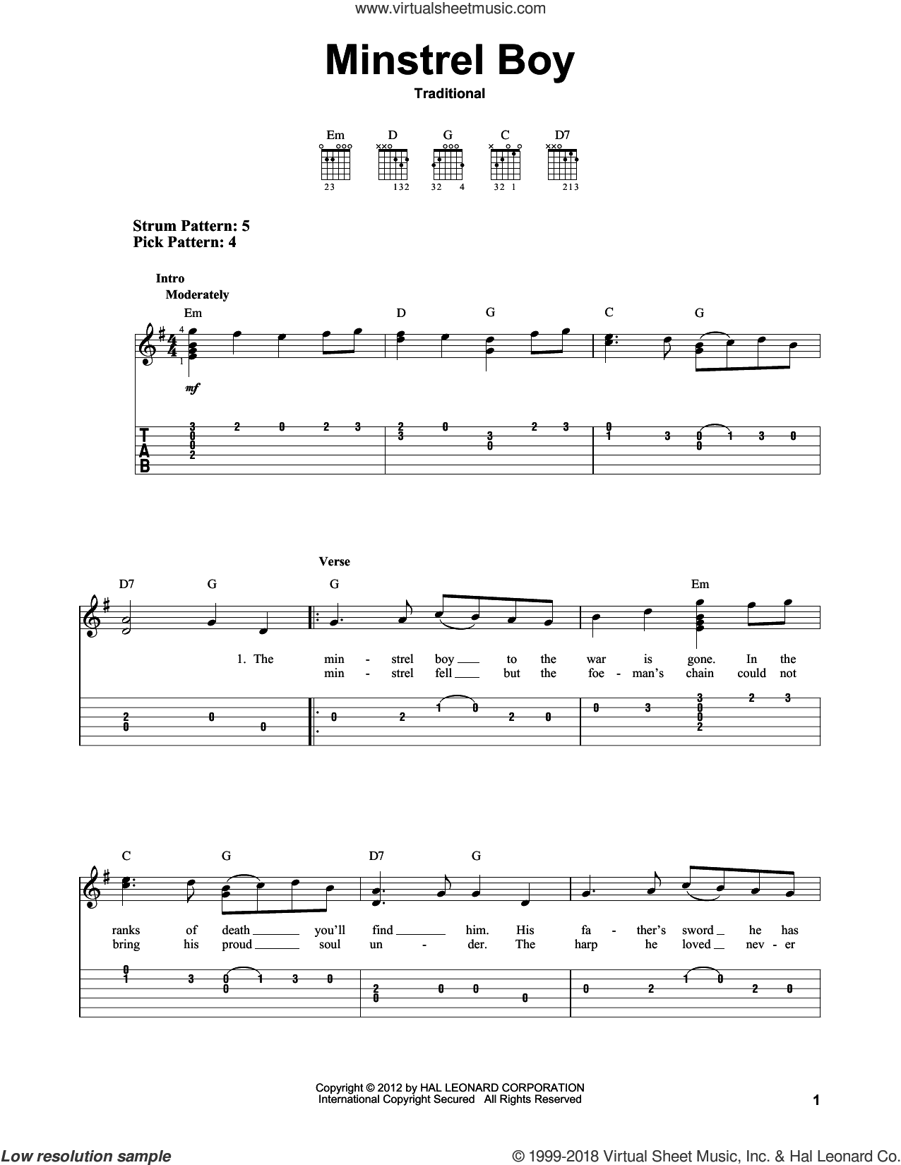 Minstrel Boy sheet music for guitar solo (easy tablature). Score Image Preview.