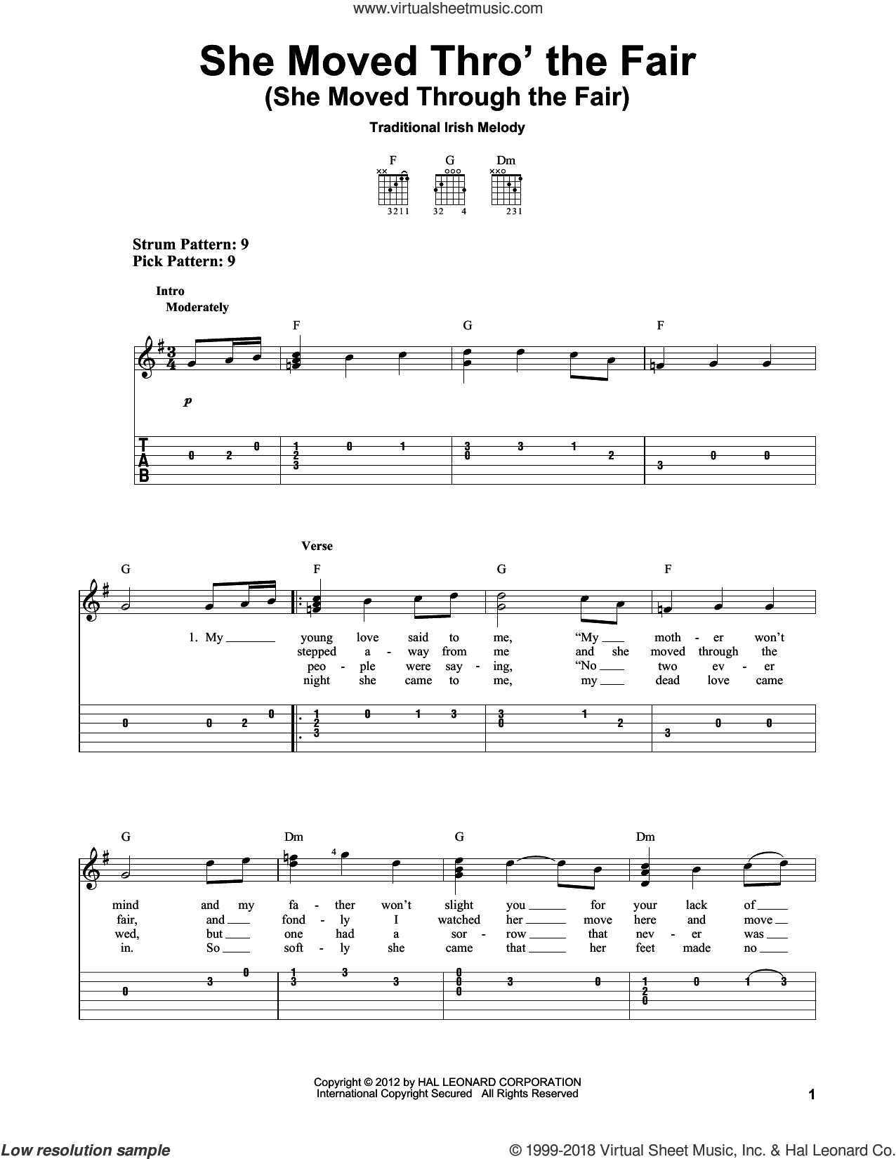 She Moved Thro' The Fair (She Moved Through The Fair) sheet music for guitar solo (easy tablature) by Traditional Irish