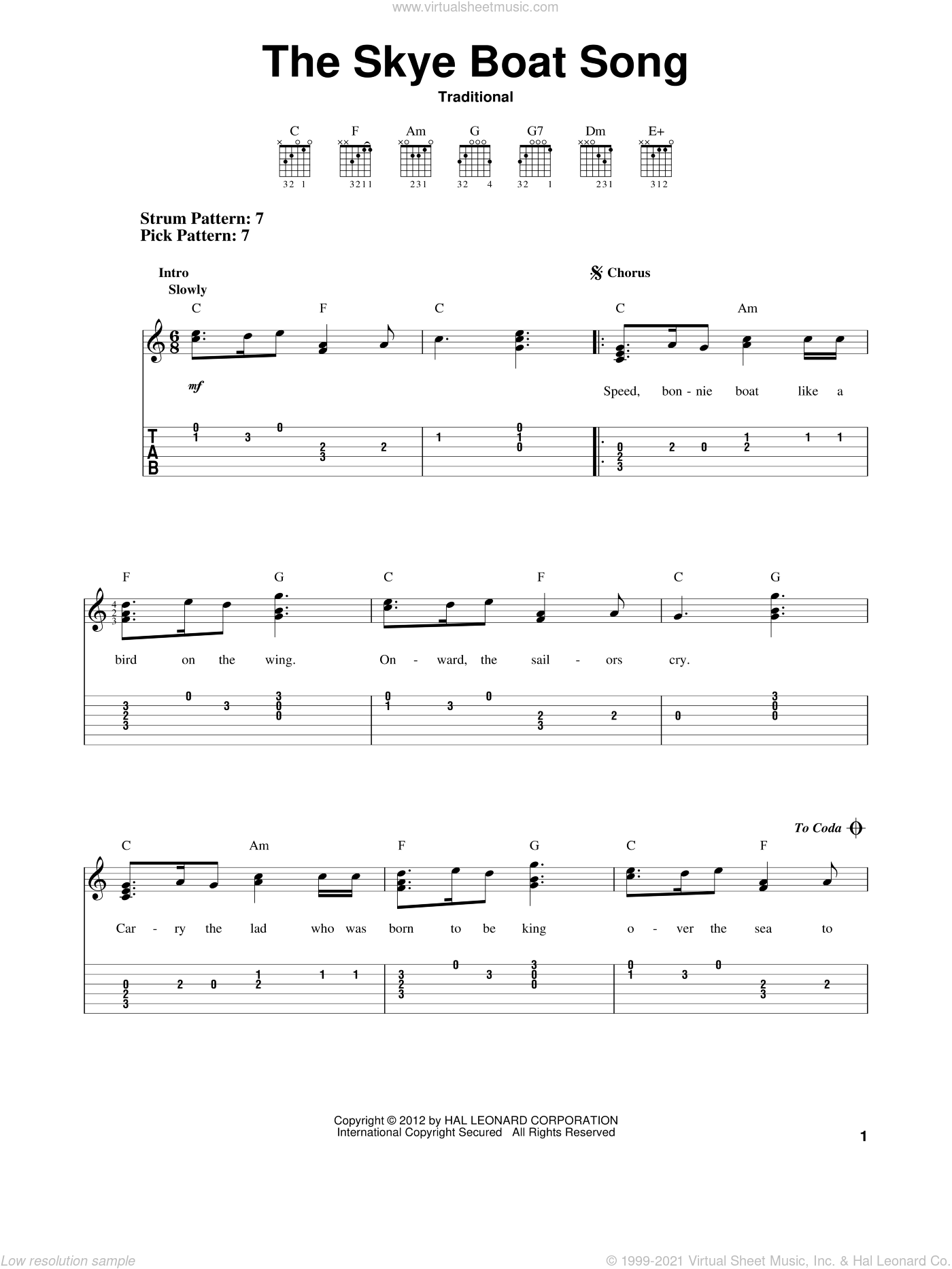 The Skye Boat Song sheet music for guitar solo (easy tablature), easy guitar (easy tablature). Score Image Preview.