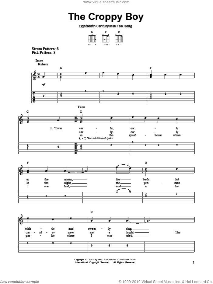 The Croppy Boy sheet music for guitar solo (easy tablature). Score Image Preview.