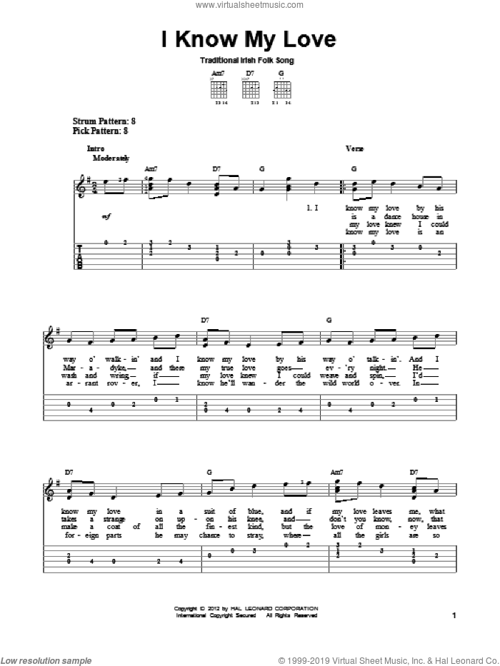 I Know My Love sheet music for guitar solo (easy tablature), easy guitar (easy tablature)