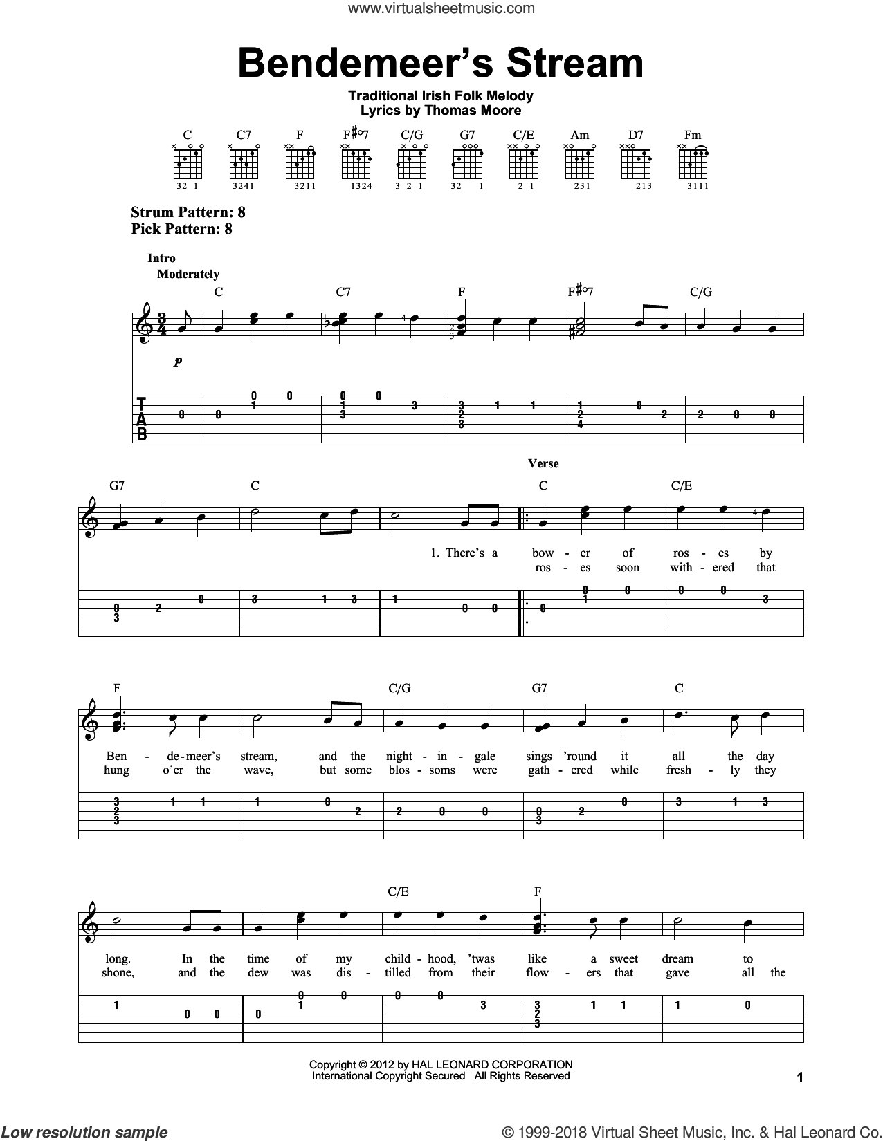 Bendemeer's Stream sheet music for guitar solo (easy tablature) by Thomas Moore and Miscellaneous. Score Image Preview.