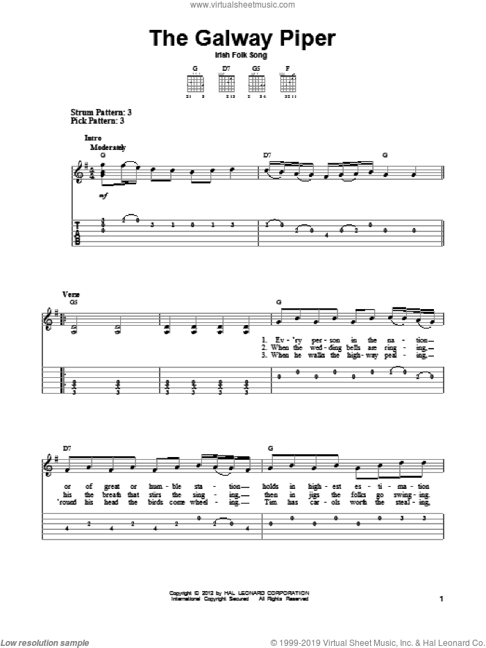 The Galway Piper sheet music for guitar solo (easy tablature). Score Image Preview.