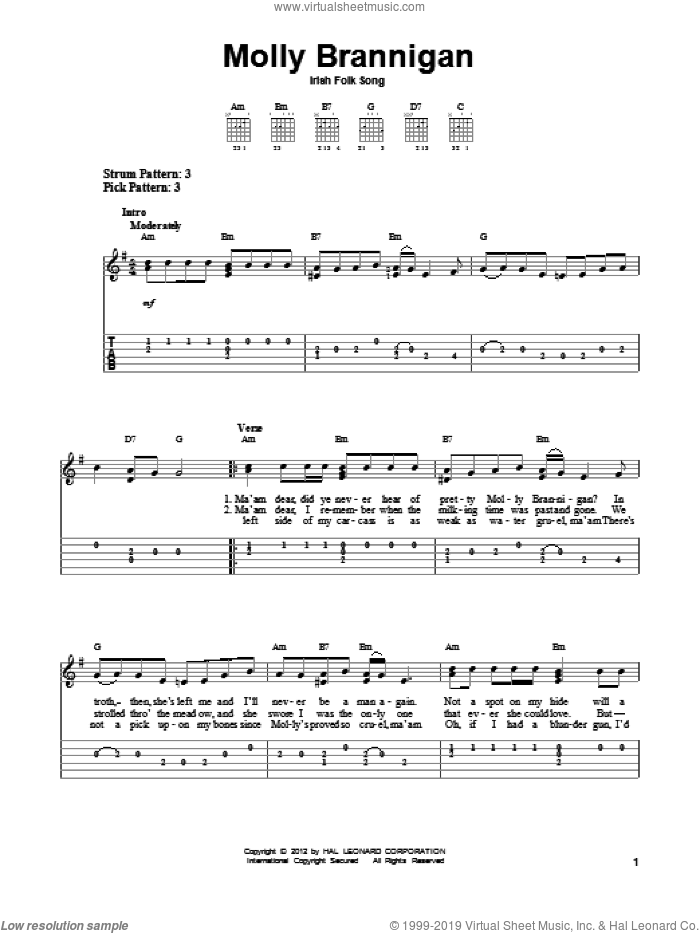 Molly Brannigan sheet music for guitar solo (easy tablature). Score Image Preview.