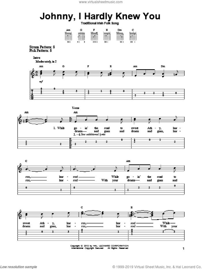 Johnny, I Hardly Knew You sheet music for guitar solo (easy tablature), easy guitar (easy tablature)