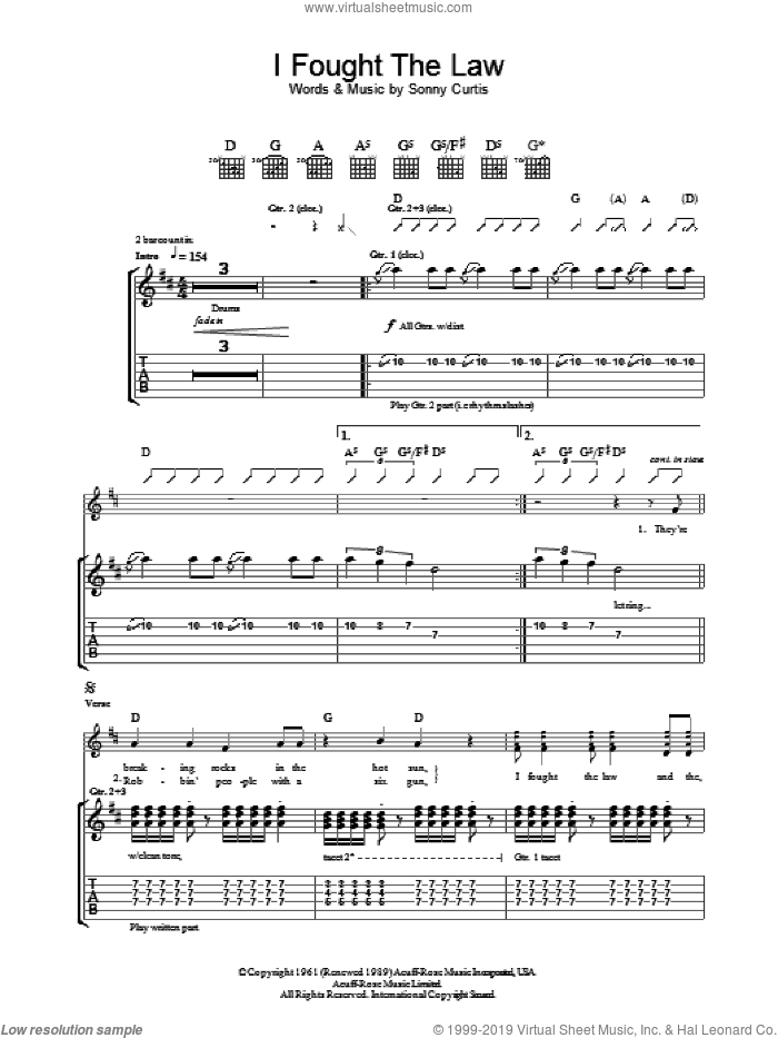 I Fought The Law sheet music for guitar (tablature) by Sonny Curtis and The Clash. Score Image Preview.