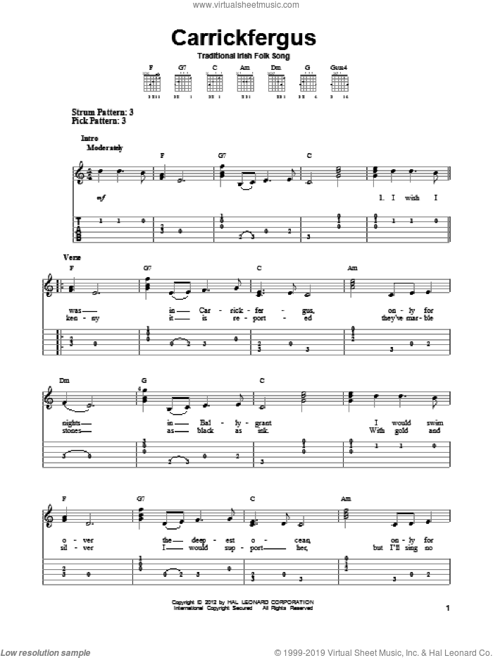 Carrickfergus sheet music for guitar solo (easy tablature). Score Image Preview.