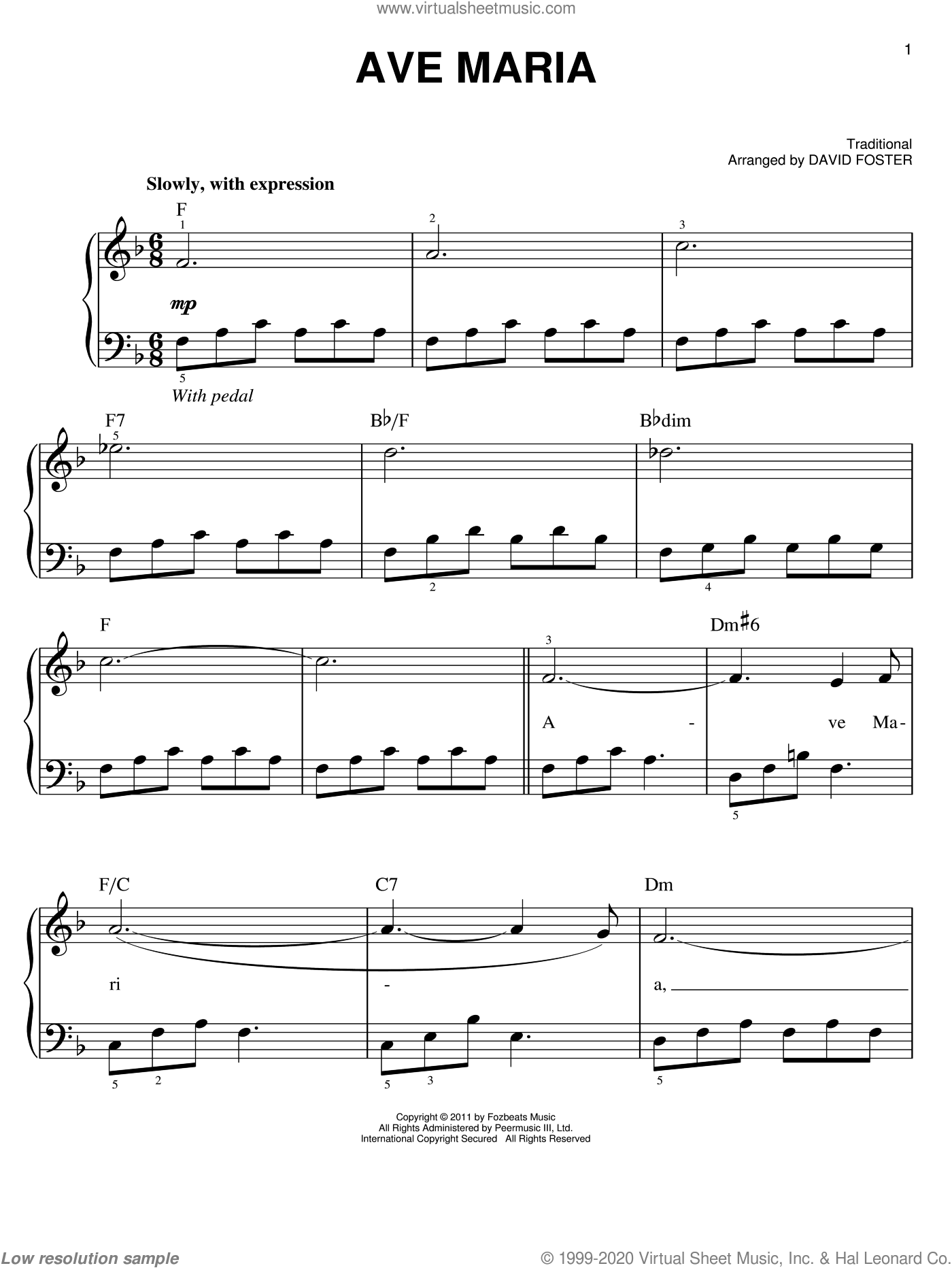 Ave Maria sheet music for piano solo by Michael Buble and David Foster, easy skill level