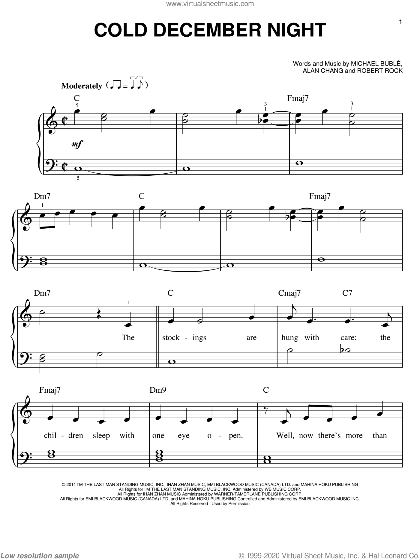 Cold December Night sheet music for piano solo by Michael Buble, Alan Chang and Robert Rock, Christmas carol score, easy piano. Score Image Preview.