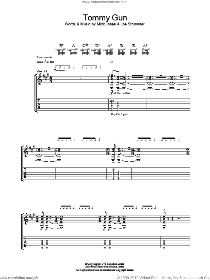 Tommy Gun sheet music for guitar (tablature) by Mick Jones, The Clash and Joe Strummer. Score Image Preview.