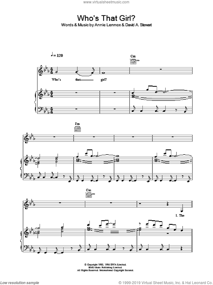 Who's That Girl? sheet music for voice, piano or guitar by Eurythmics, Annie Lennox and Dave Stewart, intermediate voice, piano or guitar. Score Image Preview.