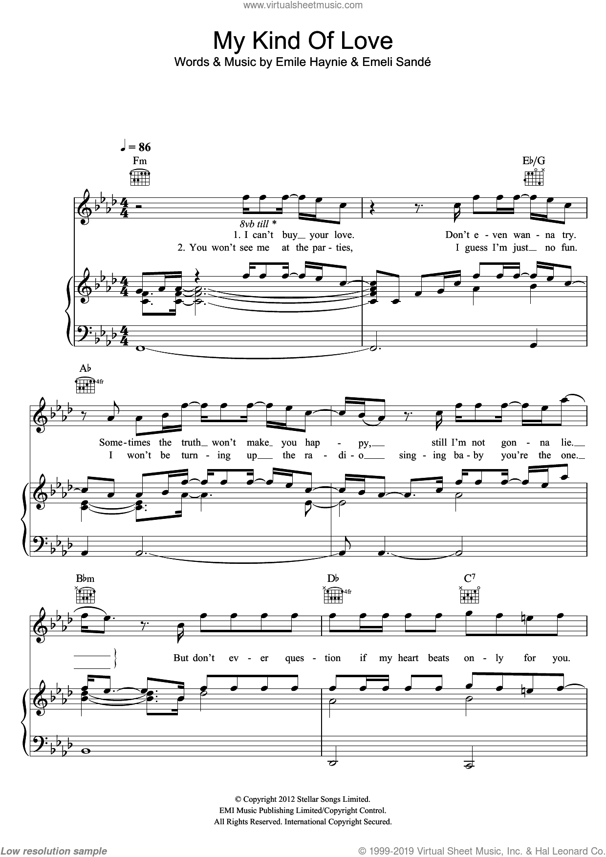 My Kind Of Love sheet music for voice, piano or guitar by Emeli Sande and Emile Haynie, intermediate skill level