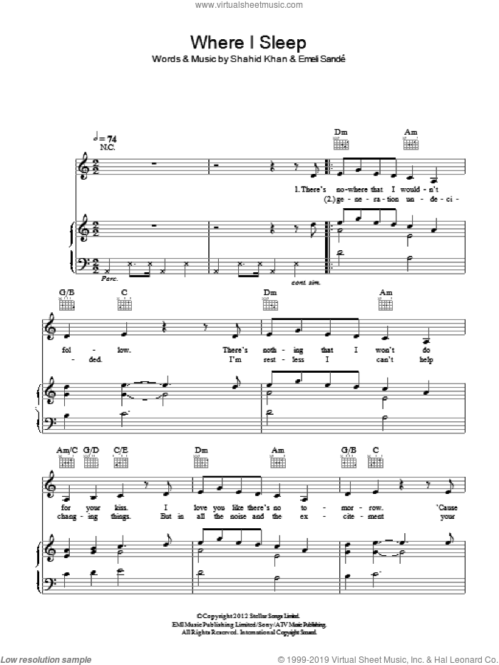 Where I Sleep sheet music for voice, piano or guitar by Emeli Sande. Score Image Preview.