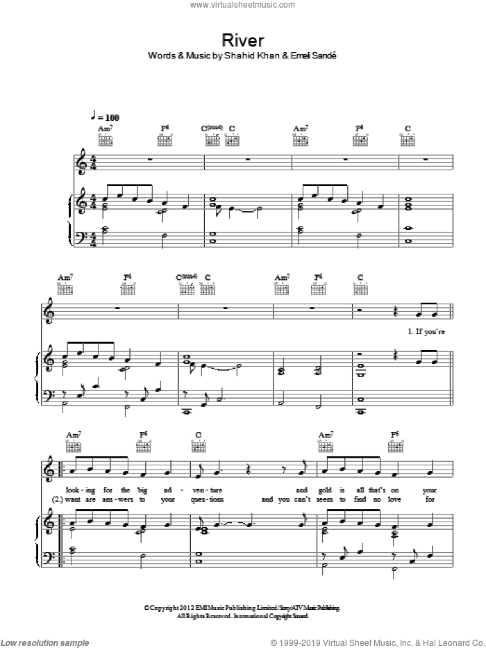 River sheet music for voice, piano or guitar by Shahid Khan and Emeli Sande. Score Image Preview.
