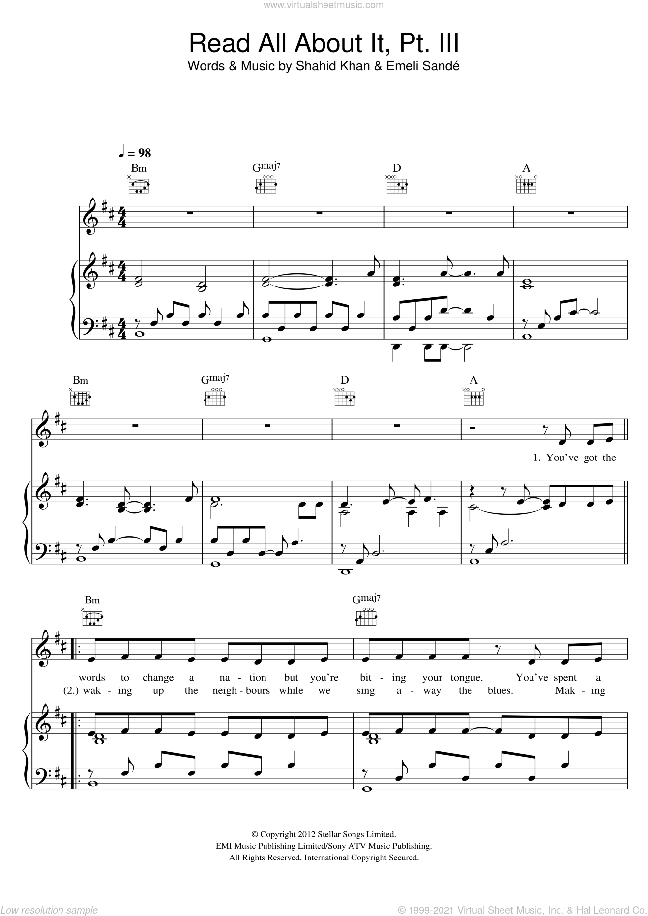 Read All About It, Part III sheet music for voice, piano or guitar by Emeli Sande and Shahid Khan, intermediate skill level