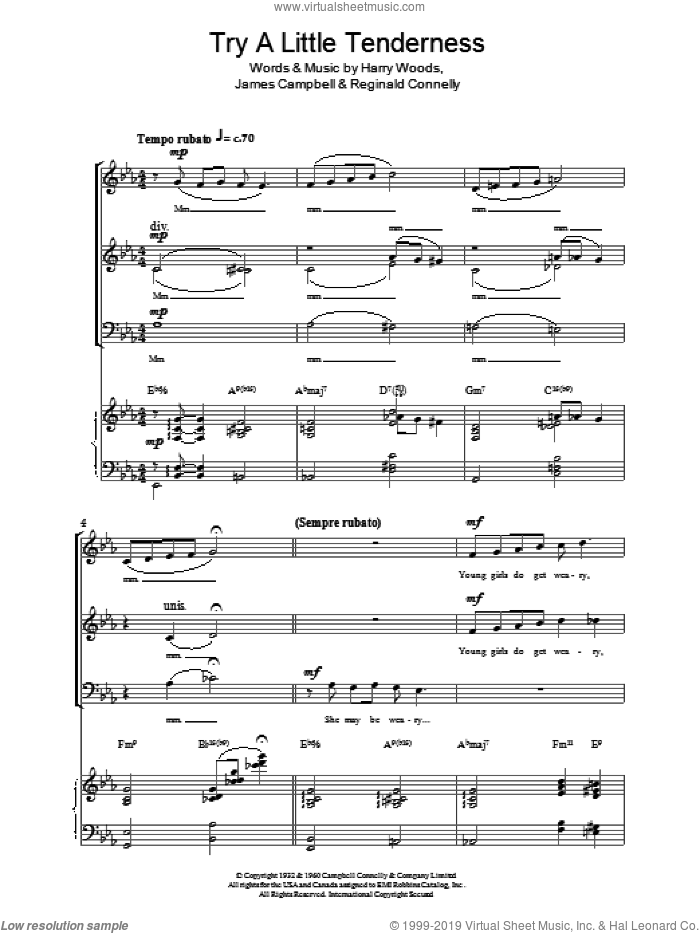 Try A Little Tenderness sheet music for voice, piano or guitar by Otis Redding, Jeremy Birchall, The Commitments, Harry Woods, James Campbell and Reg Connelly, intermediate skill level