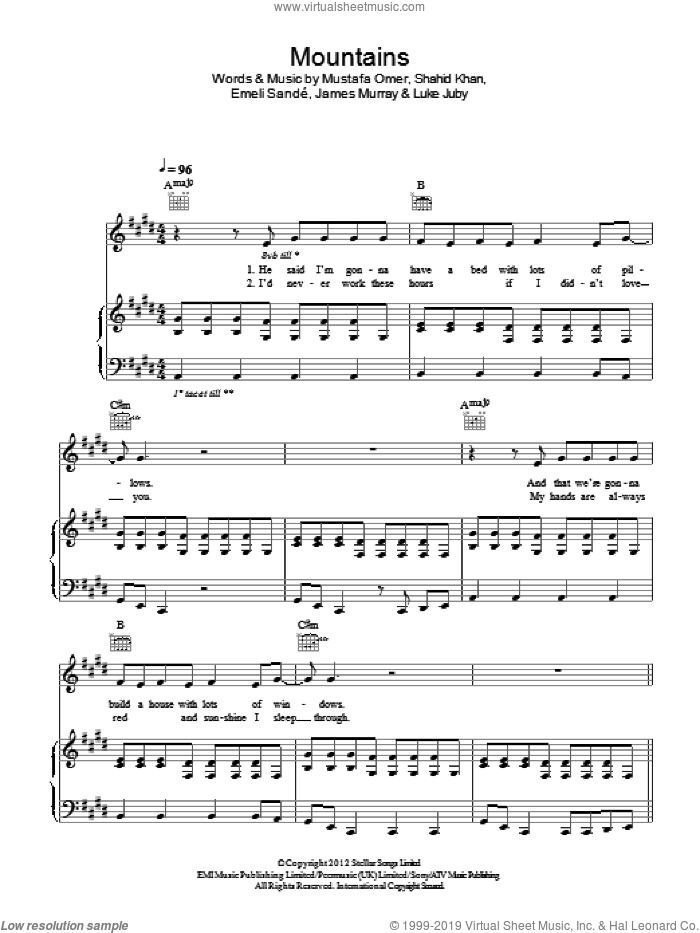 Mountains sheet music for voice, piano or guitar by Emeli Sande and James Murray, intermediate voice, piano or guitar. Score Image Preview.