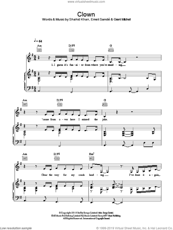Clown sheet music for voice, piano or guitar by Emeli Sande, Grant Mitchell and Shahid Khan, intermediate skill level