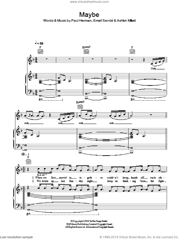Maybe sheet music for voice, piano or guitar by Paul Herman and Emeli Sande