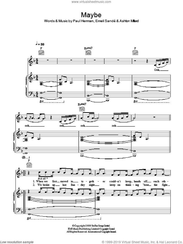 Maybe sheet music for voice, piano or guitar by Emeli Sande, Ashton Millard and Paul Herman, intermediate skill level