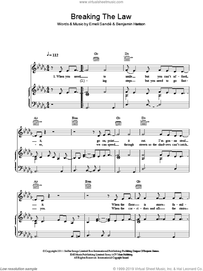 Breaking The Law sheet music for voice, piano or guitar by Emeli Sande and Benjamin Harrison, intermediate skill level