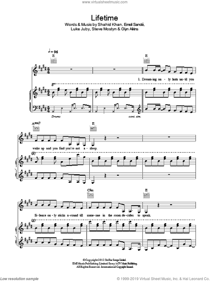 Lifetime sheet music for voice, piano or guitar by Steve Mostyn, Emeli Sande and Shahid Khan. Score Image Preview.