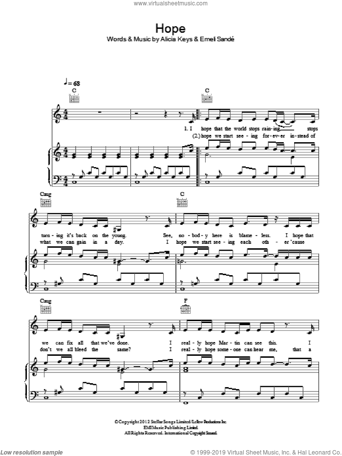 Hope sheet music for voice, piano or guitar by Emeli Sande and Alicia Keys, intermediate skill level