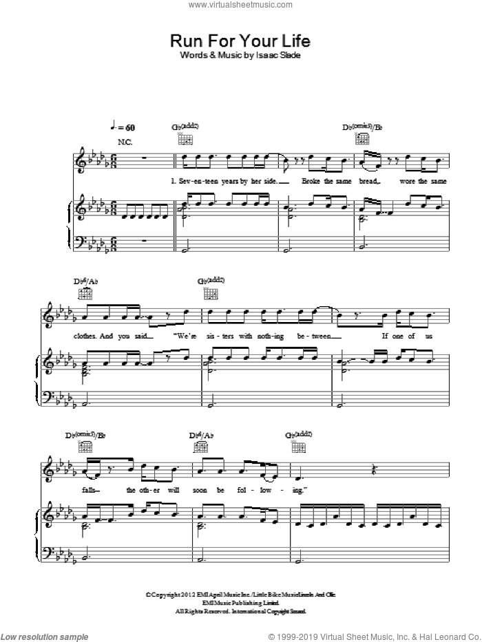 Run For Your Life sheet music for voice, piano or guitar by The Fray and Isaac Slade, intermediate skill level