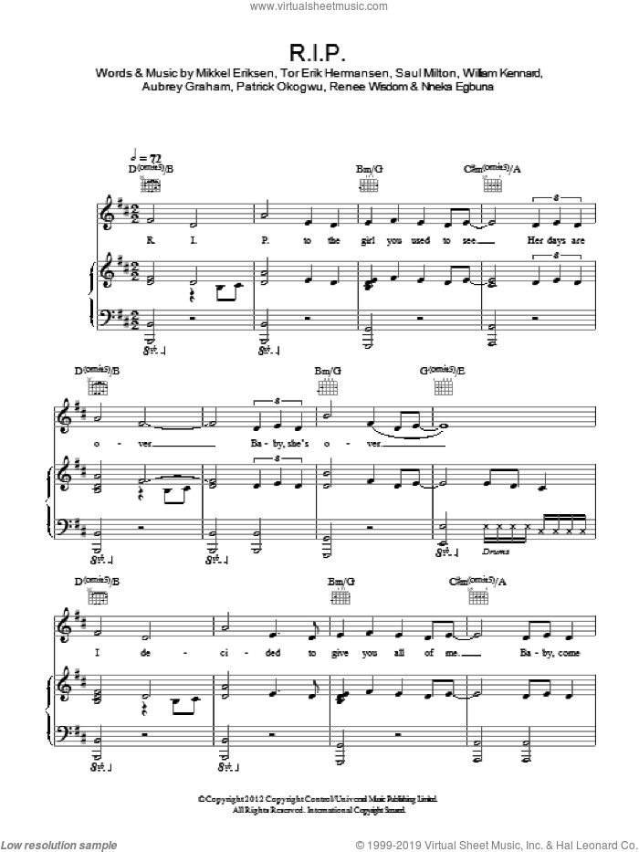 R.I.P. sheet music for voice, piano or guitar by Rita Ora, Aubrey Graham, Mikkel Eriksen, Nneka Egbuna, Patrick Okogwu, Renee Wisdom, Saul Milton, Tor Erik Hermansen and William Kennard, intermediate skill level
