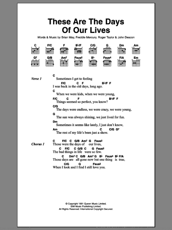These Are The Days Of Our Lives sheet music for guitar (chords) by Queen, Brian May, Frederick Mercury, John Richard Deacon and Roger Meddows Taylor, intermediate skill level
