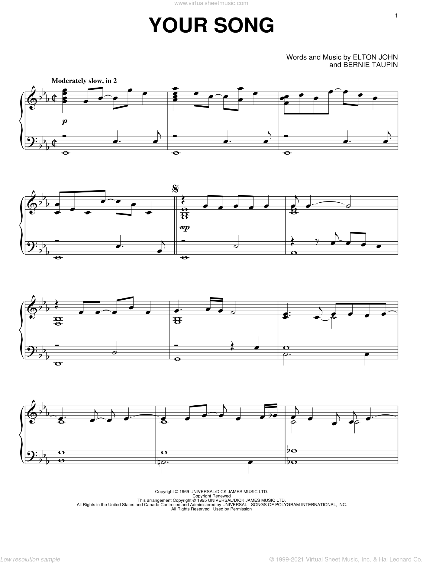 Your Song sheet music for piano solo by Elton John and Bernie Taupin, wedding score, intermediate skill level